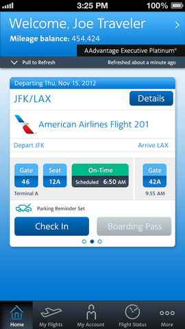 American Airlines 2.4 for iOS (iPhone screenshot 001)