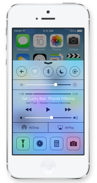 Control Center on iPhone 5