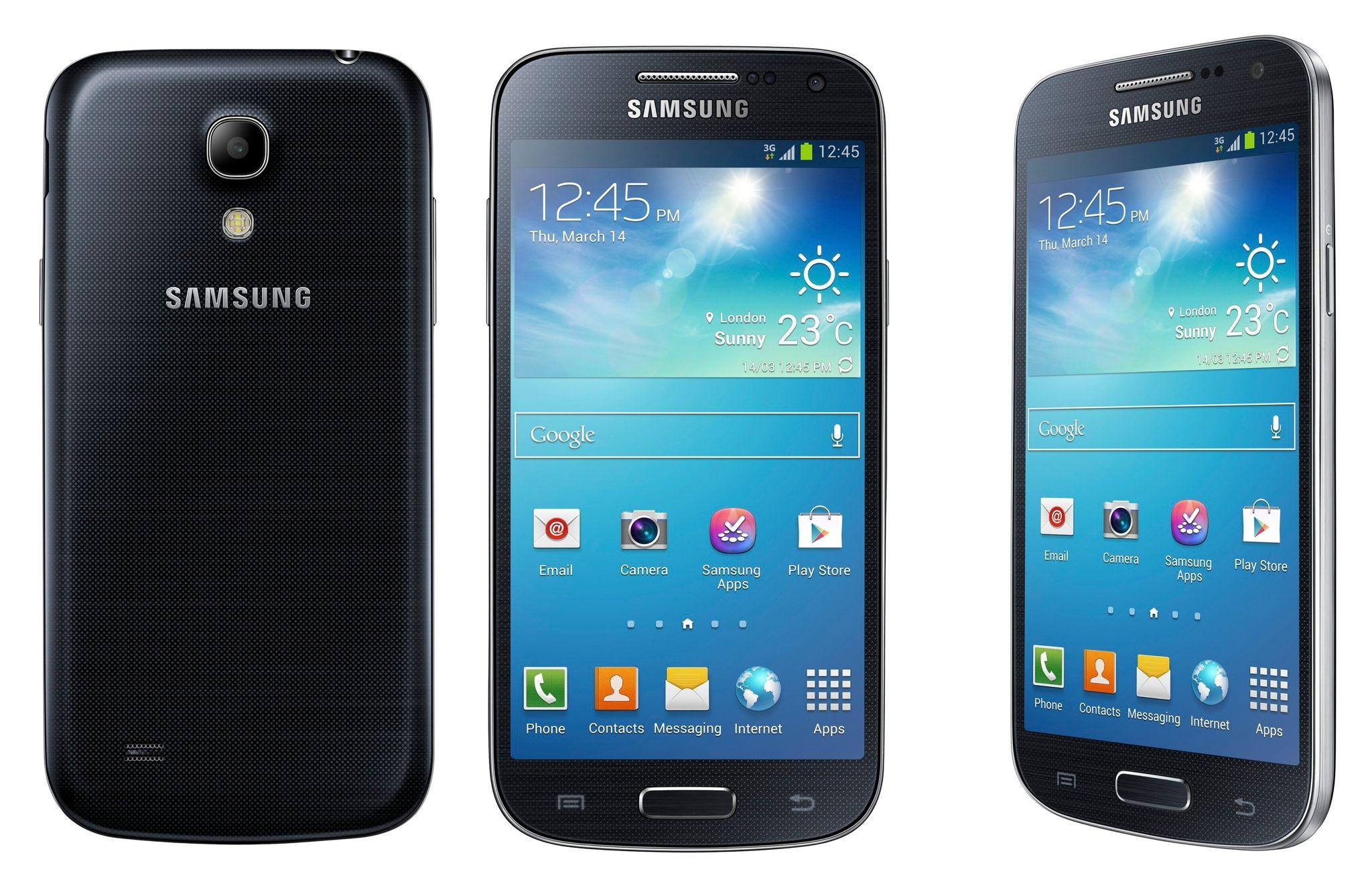 Galaxy S4 Mini (three-up, black)