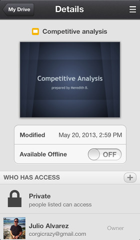 Google Drive 1.4 for iOS (iPhone screenshot 002)
