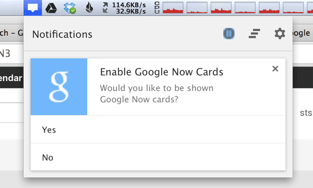 Google Now cards in Chrome for Mac (CNET 001)