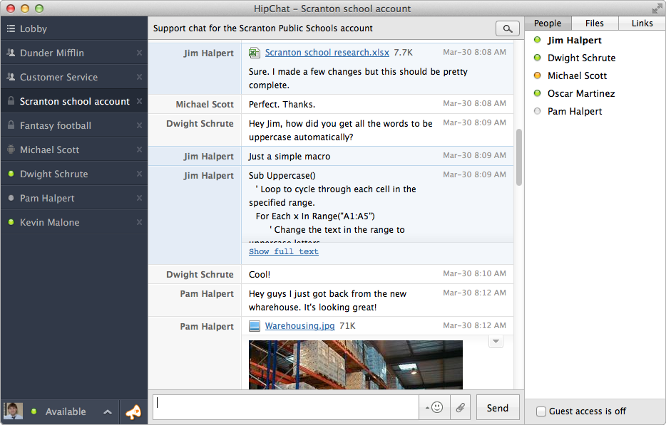 HipChat 2.0 for Mac (screenshot 001)