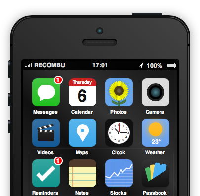 Interactive iPhone 5S and iOS 7 concept (Recombu teaser 001)