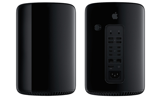 Mac Pro (2013 model, two-up, front, back)
