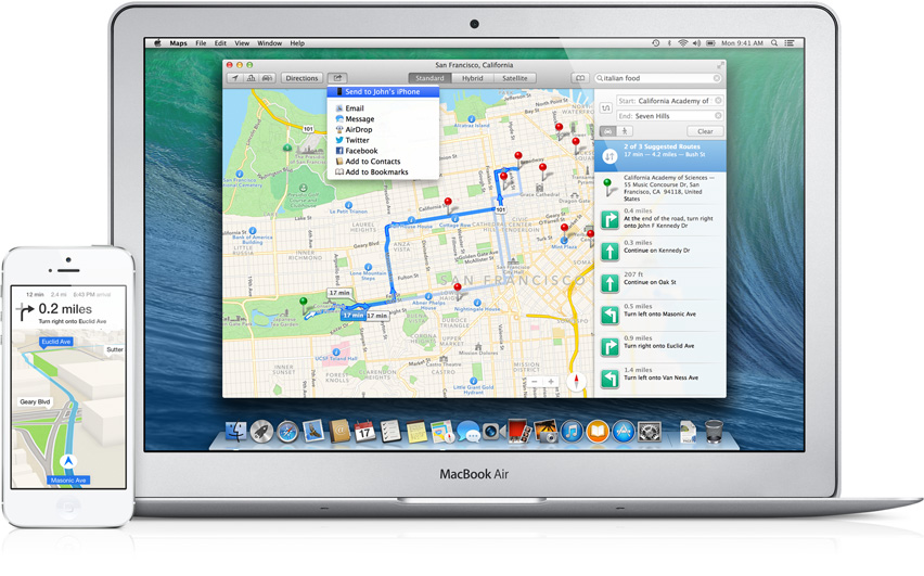 OS X Mavericks (Maps, Send to iOS teaser)