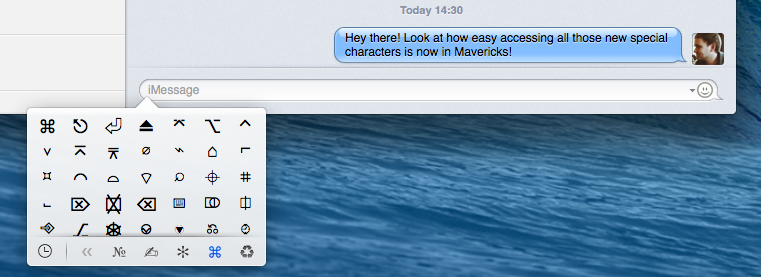 OS X Mavericks (special characters panel)