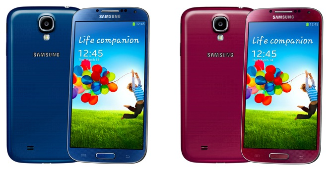 Samsung Galaxy S4 (four-up, red, blue)