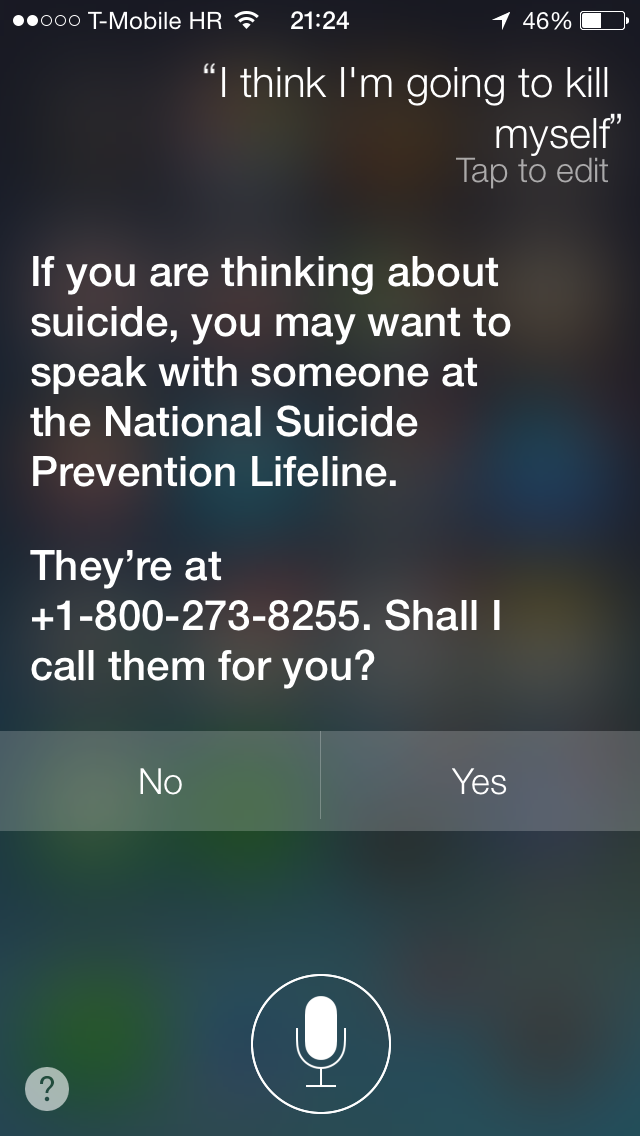 Siri (National Suicide Prevention Lifeline)