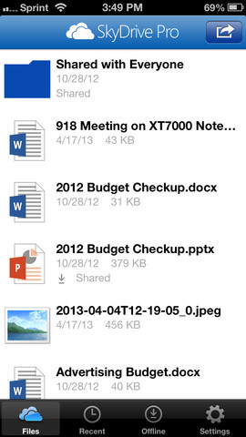 SkyDrive Pro 1.0 for iOS (iPhone screenshot 001)