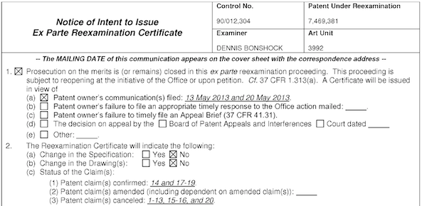 USPTO NIRC confirming seven claims of rubber-banding patent-1