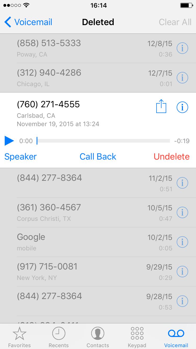 Undelete voicemail