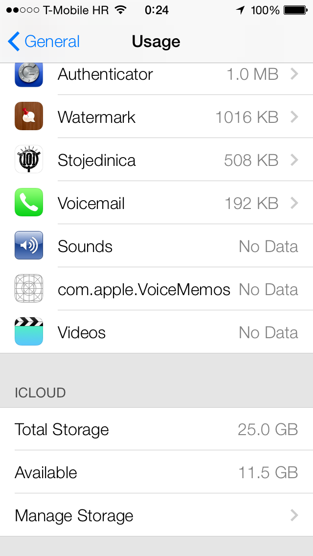 Voice Memos (iOS 7, Settings, App Data blank icon)