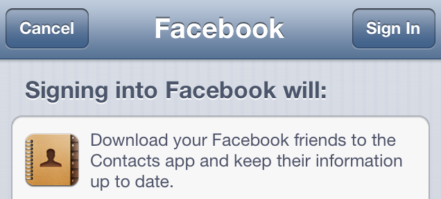 iOS 6 (Facebook, Contacts sync 001)