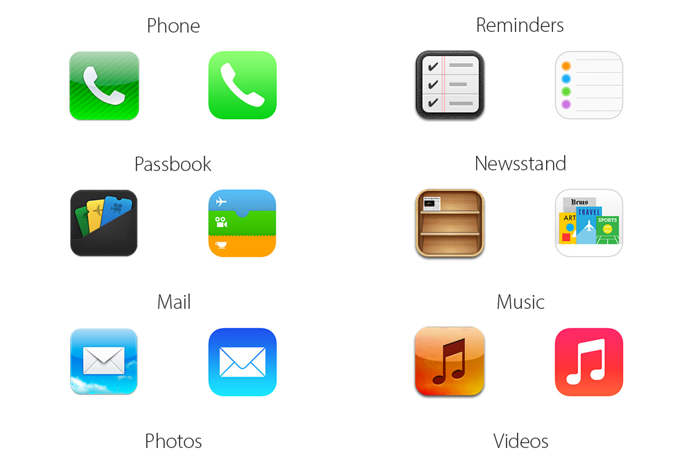 iOS 6 vs iOS 7 icons (teaser)