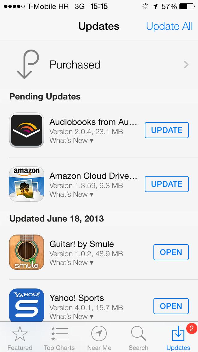 iOS 7 (App Store, pending Updates 001)