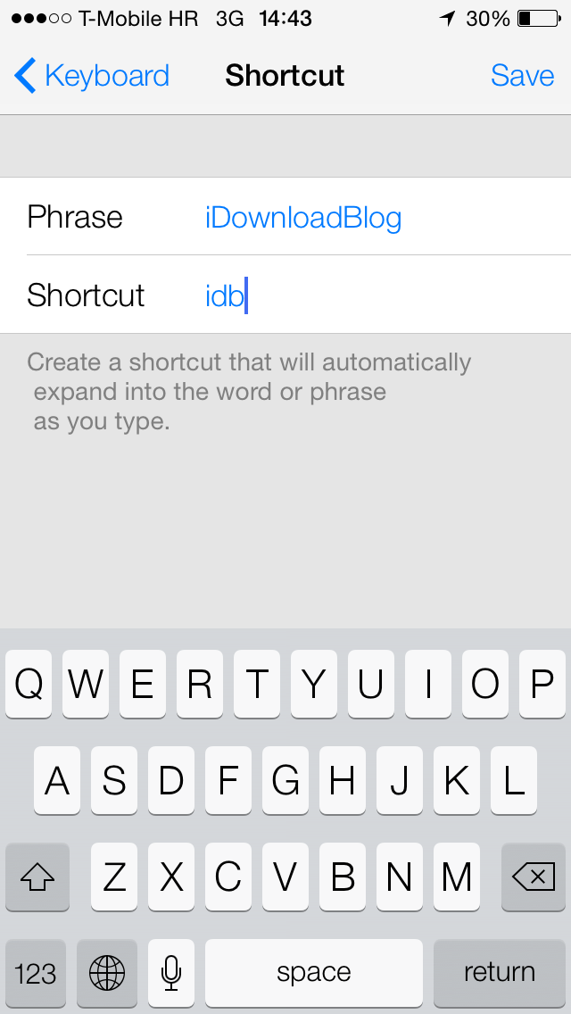 iOS 7 (Keyboard, Shortcuts 001)