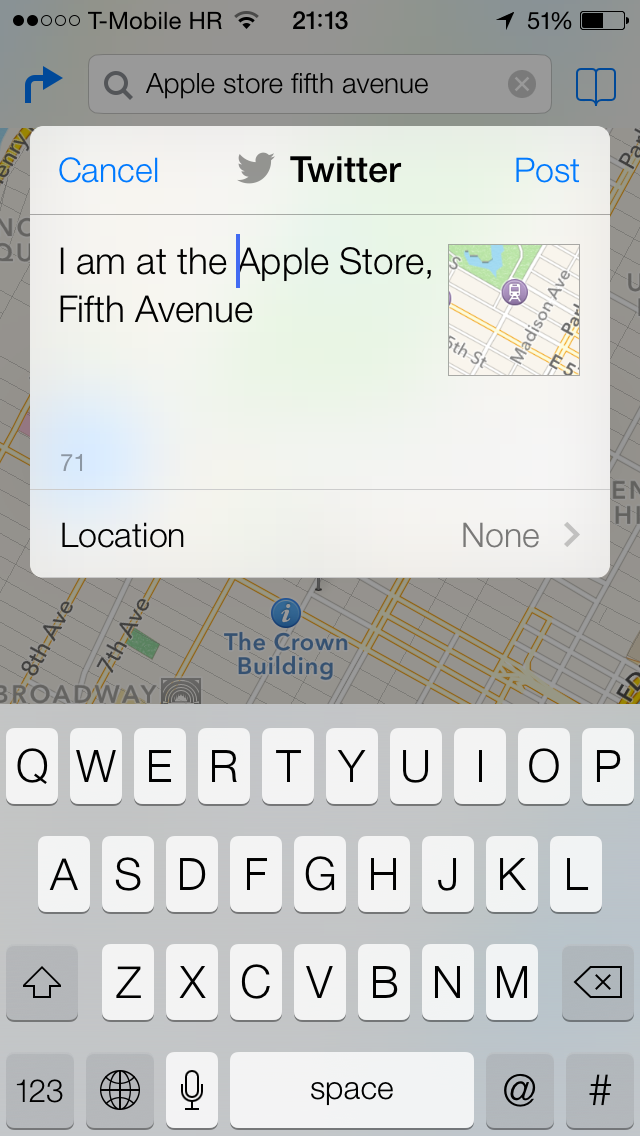 iOS 7 (Maps, Share to Twitter 002)