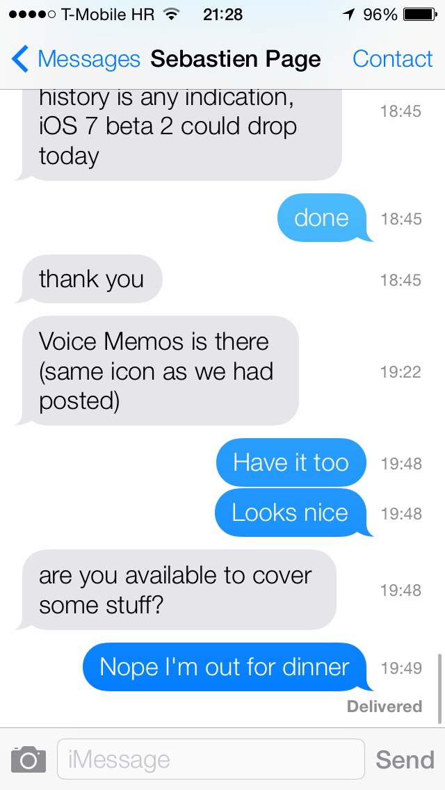 iOS 7 (Messages, timestamps)