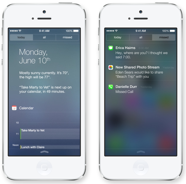 iOS 7 (Notification Center, Lock screen, Missed)
