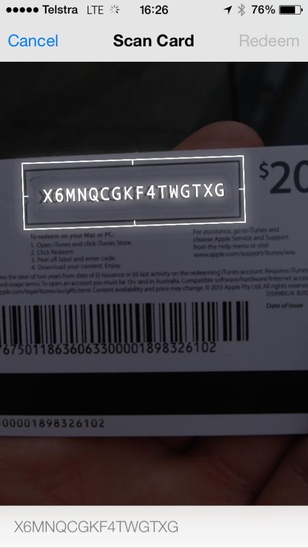 iOS 7 (Redeem iTunes card 003)