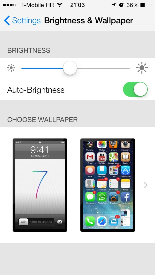 iOS 7 Settings (Brightness and Wallpaper)