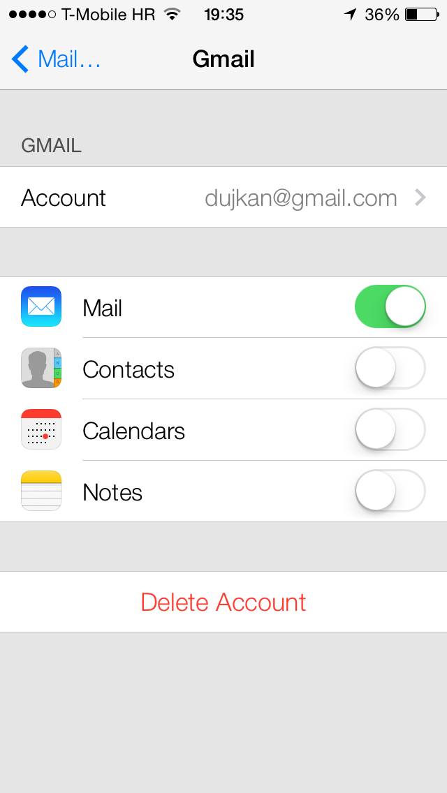 iOS 7 (Settings, Gmail account)