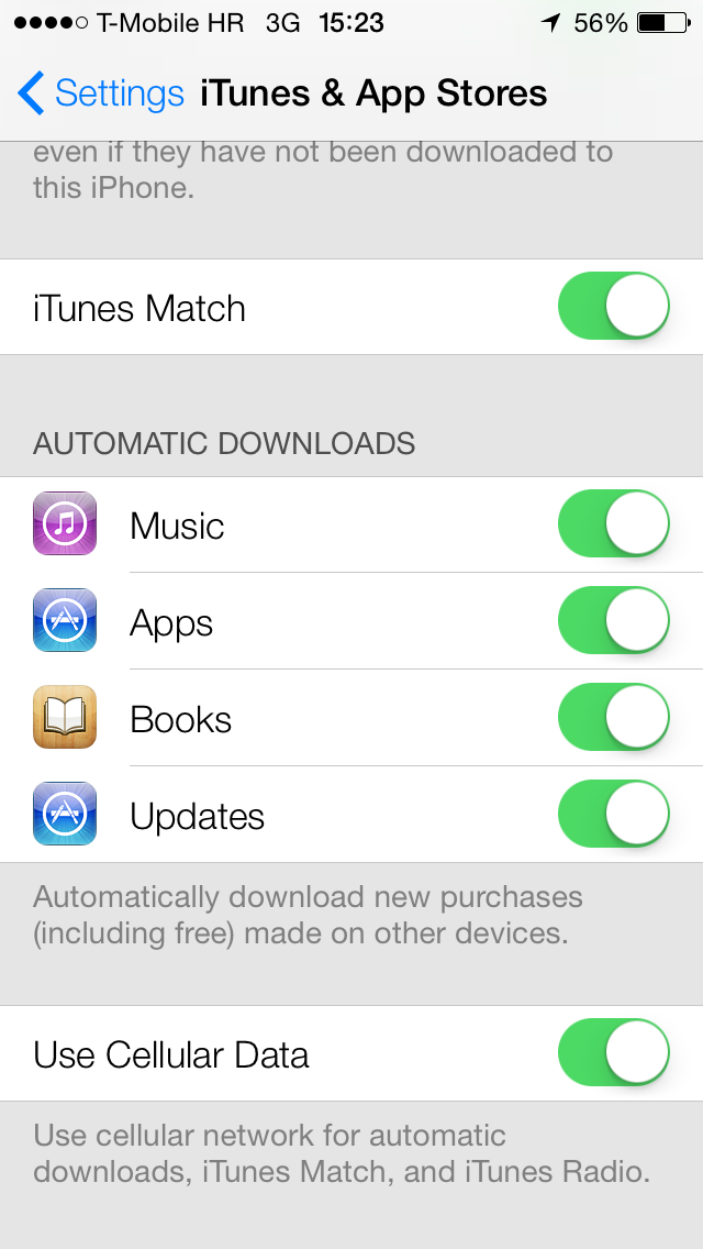 iOS 7 (Settings, iTunes and App Stores, Automatic Downloads 001)