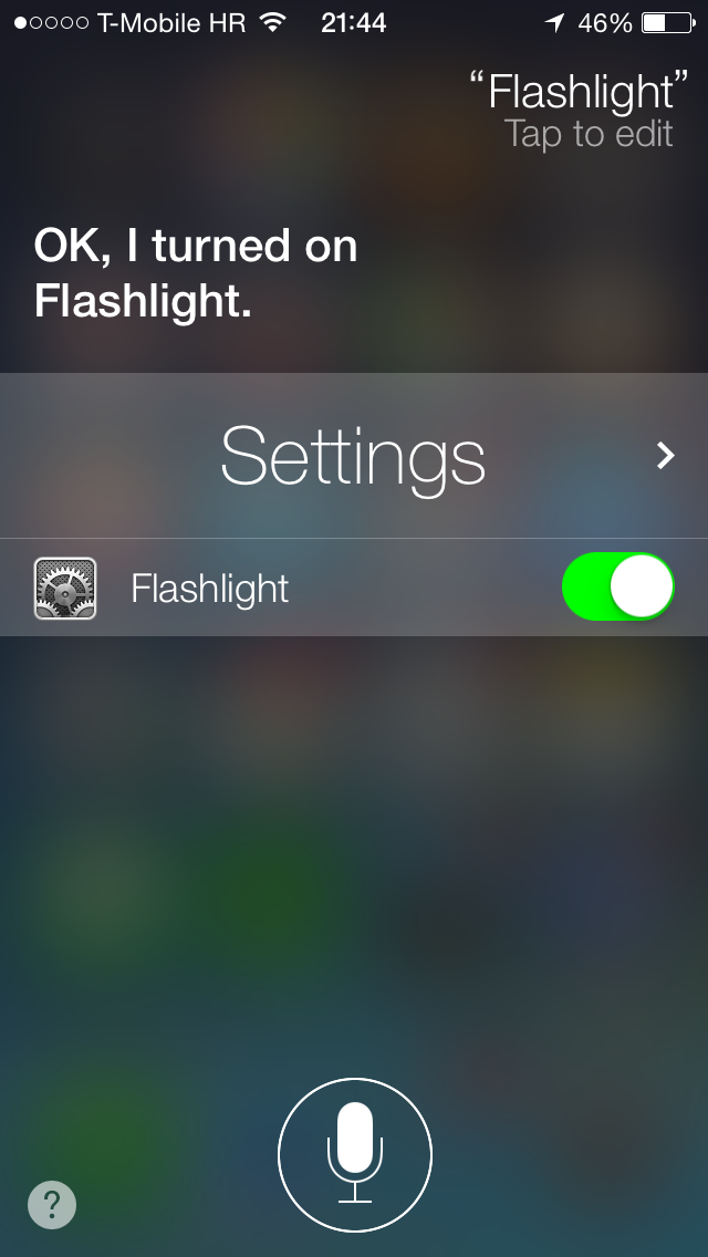 iOS 7 (Siri, Flashlight)