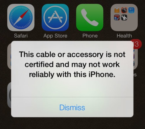 iOS 7 (Unauthorized Lightning cable prompt)