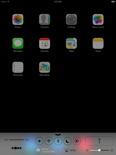 iOS 7 (iPad, Control Center 001)