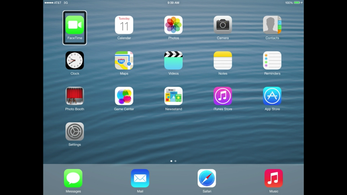 iOS 7 (iPad, Home screen, FaceTime icon)
