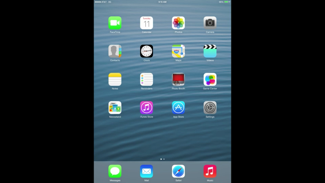 iOS 7 (iPad, Home screen