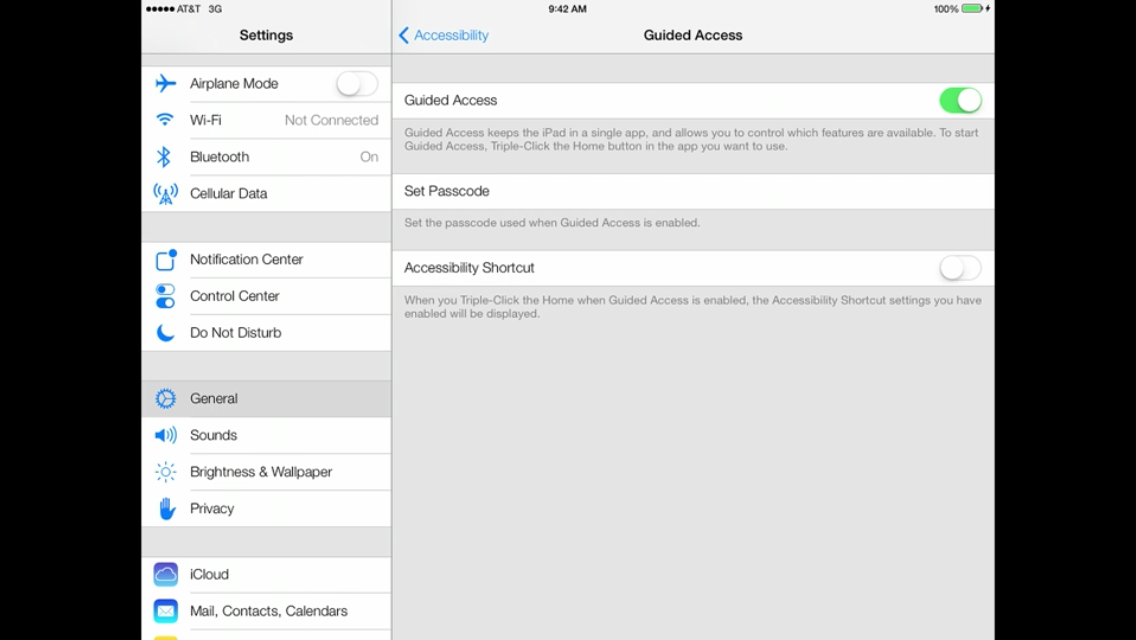 iOS 7 (iPad, Settings, General, Accessibility, Guided Access 001)