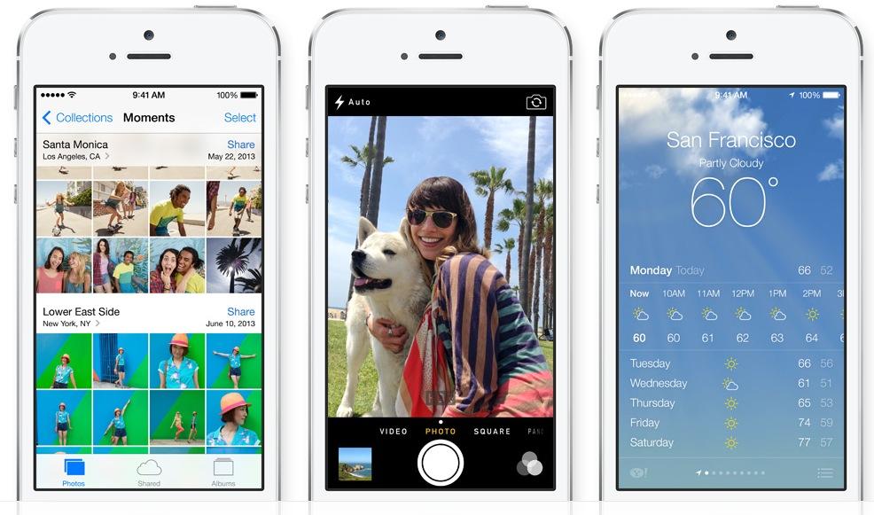 iOS 7 (three-up, Photos, Camera, Weather)