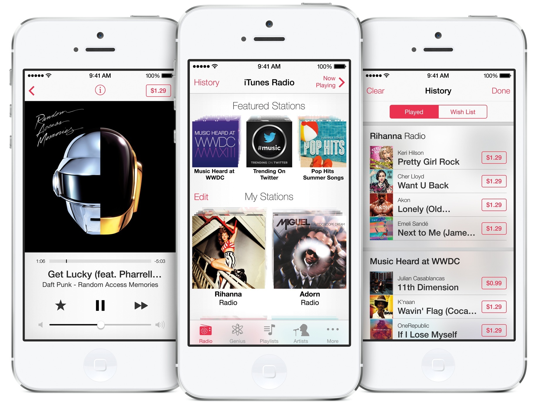 iTunes Radio (three-up, iPhone 5)