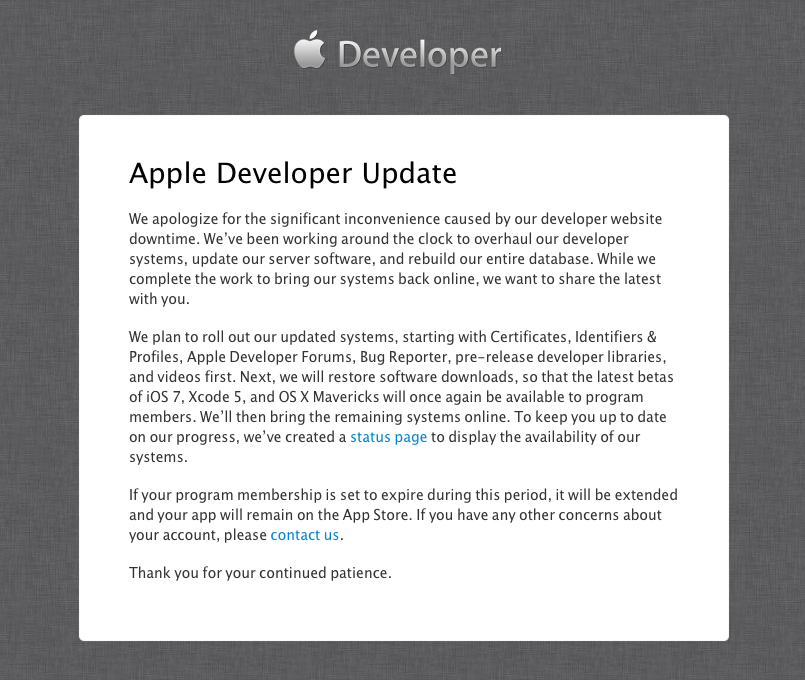 Apple Dev Center outage (seventh day)