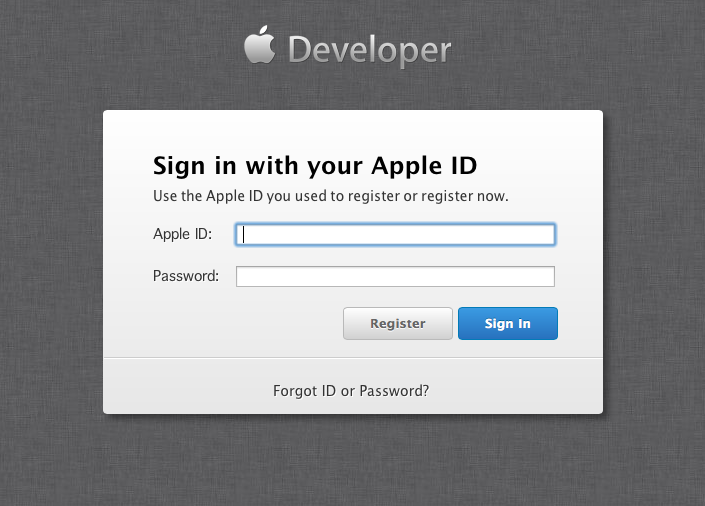 Apple Dev Center sign-in