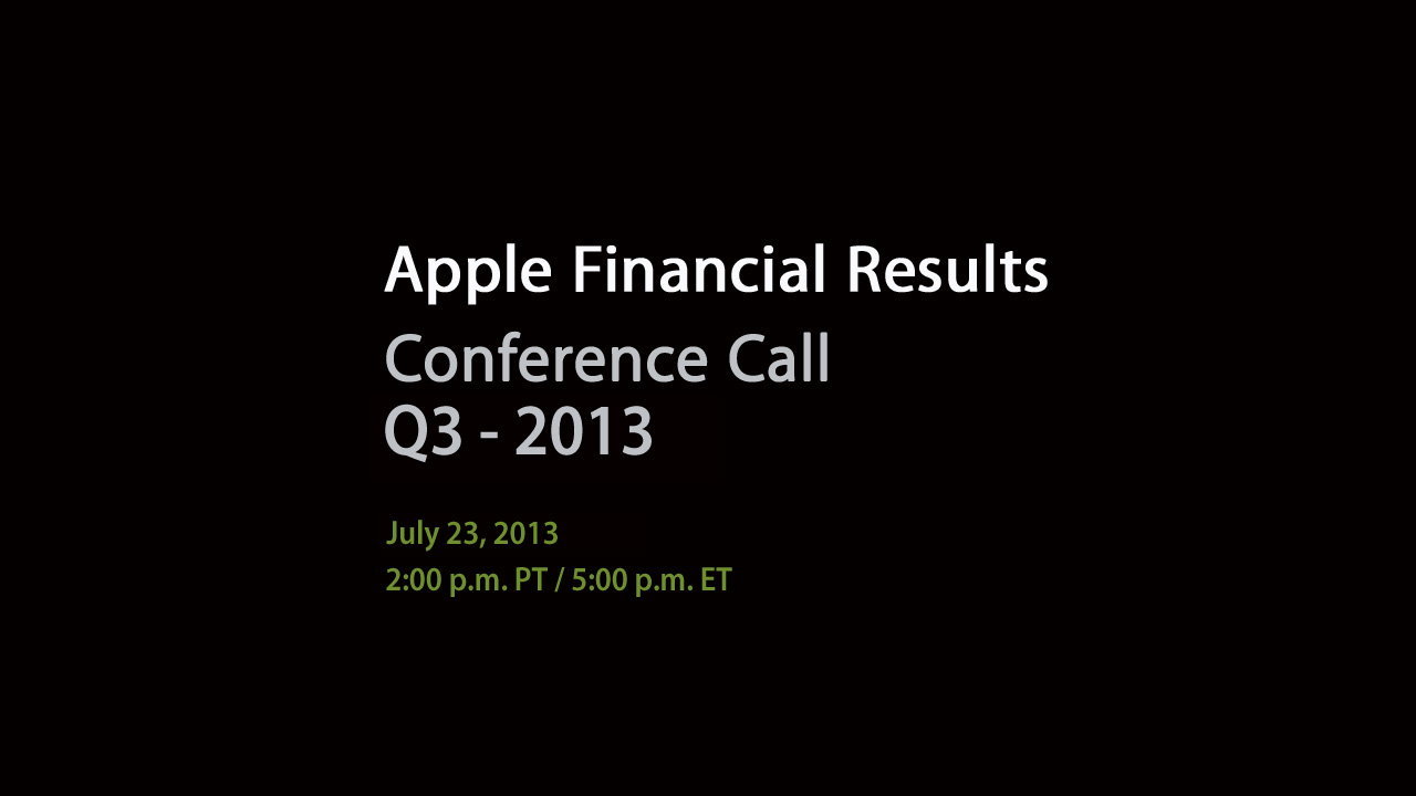 Apple Q213 webcast teaser