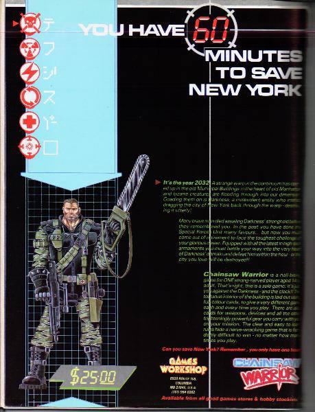 Chainsaw Warrior (original ad from White Dwarf)