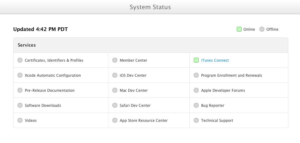 Dev Center Status Page
