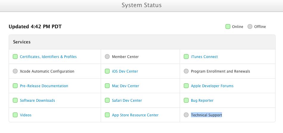 Dev Center Status page (20130731)