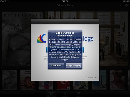 Google Catalogs shutdown announcement