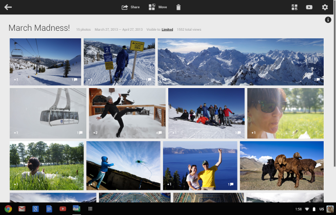 Google Plus Photos on Chromebook Pixel (Single Album)