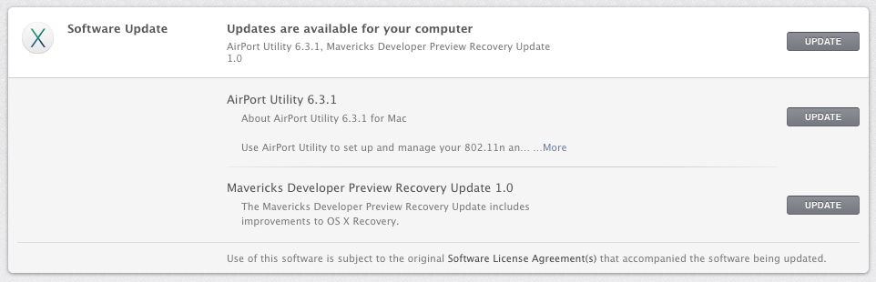 Mavericks AirPort Utility Update and Recovery Update