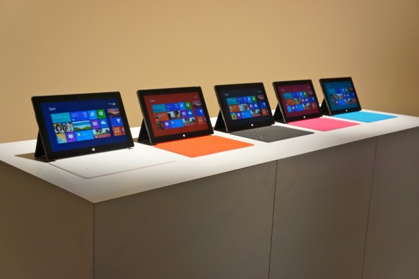 Microsoft Surface (multiple devices on table 001)