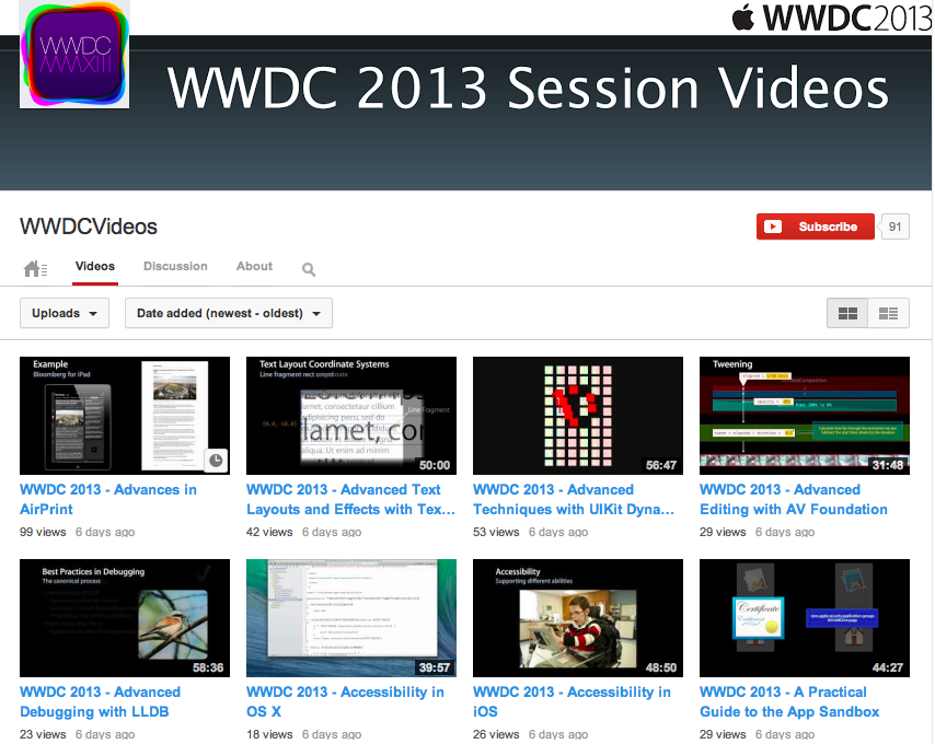 WWDC 2013 videos on YouTube
