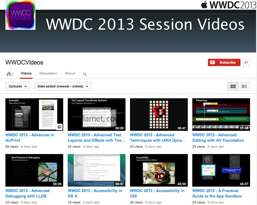 WWDC 2013 videos on YouTube