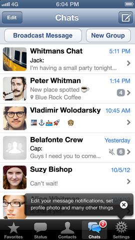 WhatsApp 2.10.1 for iOS (iPhone screenshot 001)