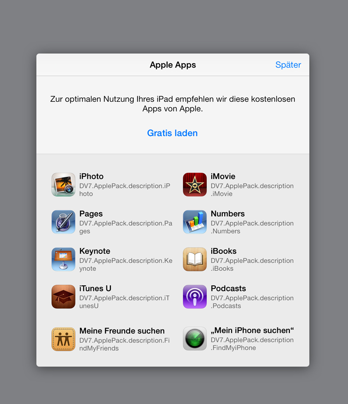 iOS 7 Beta 3 (App Store first-run, free iLife and iWork downloads)