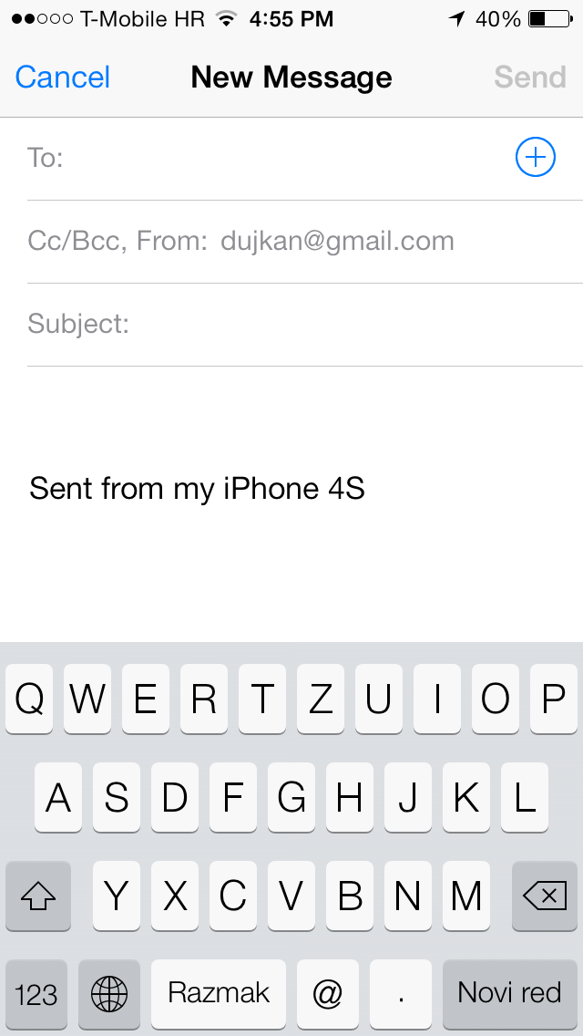 iOS 7 (Mail, Send From 001)